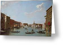 The Grand Canal And San Geremia, Venice, 18th Century Greeting Card