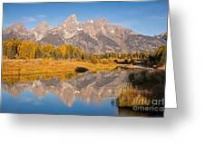 The Grand Tetons At Schwabacher Landing Grand Teton National Park Greeting Card