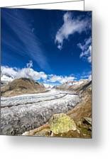 The Great Aletsch Glacier And Deep Blue Sky Greeting Card