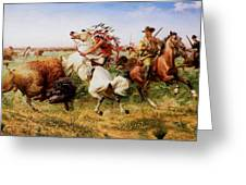 The Great Royal Buffalo Hunt Greeting Card by Louis Maurer