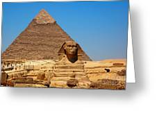 The Great Sphinx Of Giza And Pyramid Of Khafre Greeting Card
