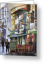 The Green Lights Of Agen Greeting Card by Shirley  Peters