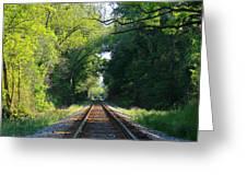 The Green Line Railroad Track Art Greeting Card