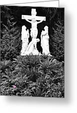 The Grotto - Calvary Scene - Pink Flower Greeting Card