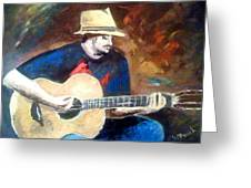 The Guitarist Greeting Card by Soumya Bouchachi