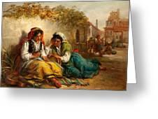 The Gypsies Greeting Card by Thomas Kent Pelham