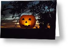 The Hanging Pumpkin Greeting Card by Rebecca Cearley