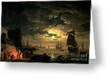 The Harbor Of Palermo Greeting Card by Claude Joseph Vernet