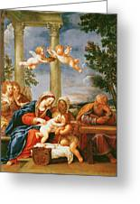 The Holy Family With St. Elizabeth And St. John The Baptist, C.1645-50 Oil On Copper Greeting Card