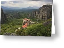 The Holy Monastery Of Rousanou Meteora Greece  Greeting Card