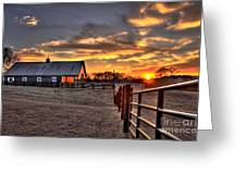 The Horse Barn Sunset Greeting Card