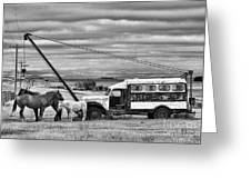 The Horses And The Welding Truck Greeting Card