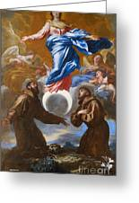 The Immaculate Conception With Saints Francis Of Assisi And Anthony Of Padua Greeting Card