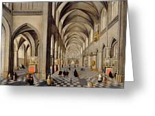 The Interior Of A Gothic Church Greeting Card by Hendrik the Younger Steenwyck