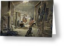 The Interior Of A Hut Of A Mandan Chief Greeting Card