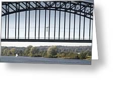 The Iron Railway Bridge Over The Rhine At Arnhem Netherlands Greeting Card