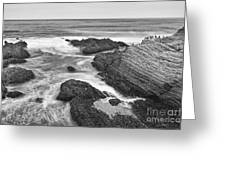 The Jagged Rocks And Cliffs Of Montana De Oro State Park In California In Black And White Greeting Card