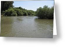 The Jordan River Flowing Towards The Sea Of Galilee Greeting Card by Rita Adams