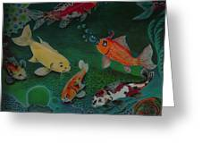 The Koi Life Greeting Card by Denisse Del Mar Guevara