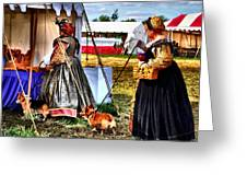 The Ladies And The Corgies Greeting Card by Julie Dant