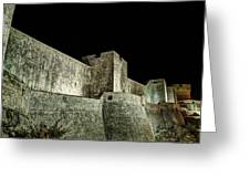 The Landside Walls Of Dubrovnik At Night No1 Greeting Card