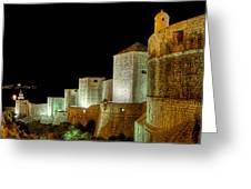 The Landside Walls Of Dubrovnik At Night No2 Greeting Card