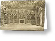The Library, Engraved By Godfrey Greeting Card