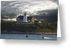 The Light At Nobska Point  Greeting Card
