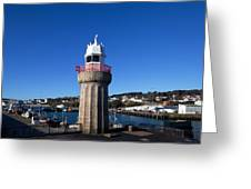 The Lighthouse And Fishing Harbour Greeting Card
