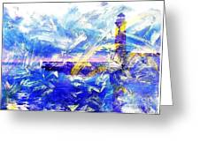 The Lighthouse Through Turbulent Waters Greeting Card