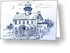 The Lines Of East Point Light In Blue Greeting Card