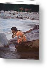 Little Girl And Ganga River Greeting Card
