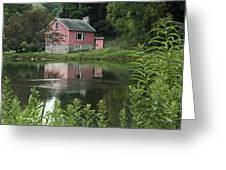 The Little Pink Cabin With Ripples Greeting Card