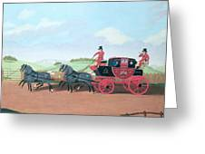 The Liverpool And London Royal Mail Coach, 1812 Oil On Canvas Greeting Card