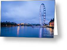 The London Eye Dawn Light Greeting Card by Donald Davis