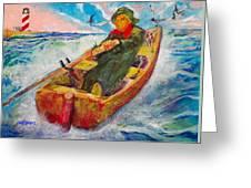 The Lone Boatman Greeting Card