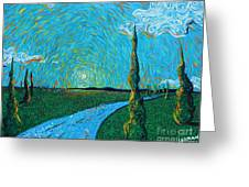 The Long Blue Road Greeting Card