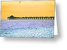 The Long Pier - Art By Sharon Cummings Greeting Card
