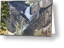 The Lower Falls Of Yellowstone River Greeting Card