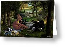 The Luncheon On The Grass With Dinosaurs Greeting Card