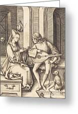The Lute Player And The Singer Greeting Card