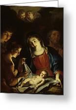 The Madonna Adoring The Infant Christ Greeting Card by Pietro Antonio Rotari
