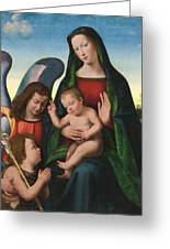 The Madonna And Child With The Young Saint John The Baptist And An Angel  Greeting Card
