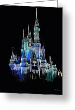 The Magic Kingdom Castle In Frosty Dark Blue Walt Disney World Greeting Card