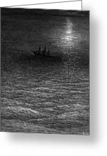 The Marooned Ship In A Moonlit Sea Greeting Card