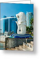 The Merlion  Fountain - Singapore. Greeting Card