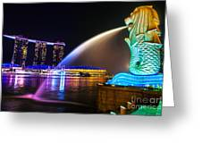 The Merlion Fountain And Marina Bay Sands - Singapore Greeting Card
