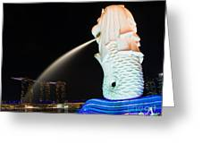 The Merlion - Singapore Greeting Card by Pete Reynolds
