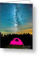 The Midnight Camper Pink Tent Greeting Card
