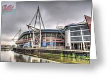 The Millennium Stadium With Flag Greeting Card